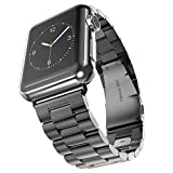 Maxjoy for Apple Watch Band - 42mm Metal Replacement Strap iWatch Solid Stainless Steel Bracelet with Double Button Butterfly Folding Clasp Buckle for Apple Watch Series 3, 2, 1 Sport & Edition, Black