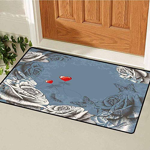 (GloriaJohnson Floral Welcome Door mat Grunge Rose Petals and Butterflies Red Hearts Love Valentines Vintage Design Door mat is odorless and Durable W31.5 x L47.2 Inch Slate Blue Grey)