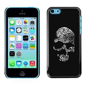 Planetar® ( Skull Black Bones White Death Metal ) iPhone 5C Fundas Cover Cubre Hard Case Cover