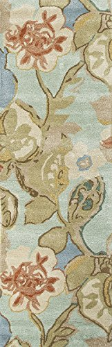 (Diva At Home 2.5' x 12' Petal Pusher Sandy Brown, Mint Green and Rust Orange Wool and Art Silk Area Throw Rug Runner)