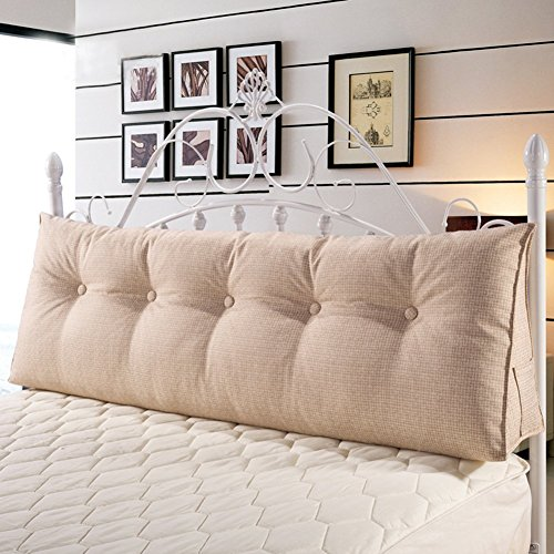 WOWMAX PP-Cotton Filled Triangular Wedge Pillow Positioning Support Reading Backrest Cushion Sofa Bed Day Bed Upholstered Headboard Removable Washable Cover Off-White Linen 71 inches by WOWMAX (Image #1)