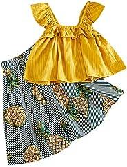 SIN vimklo Kids Skirt Set Girls Wooden Ear T-Shirt Vest+Pineapple Print Dress,2-7Years