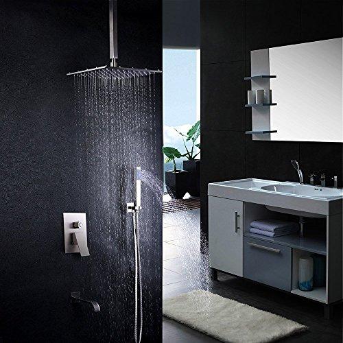 Shower Kit Brush (JiaYouJia Single Handle Tub & Shower Trim Kit,With Pressure Balance Valve,Brush Nickel Color, 12