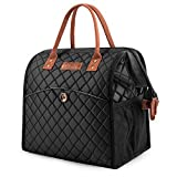 Lunch bags Women Lunch Tote Bag Water-resistant Lunch Box Insulated Leak Proof Liner Lunch Bag Cooler Bag With Wide Opening for Women/Office/Work/Park/Picnic,Black Diamond Pattern