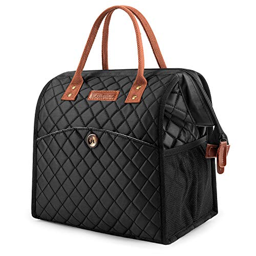 (Lunch bags Women Lunch Tote Bag Water-resistant Lunch Box Insulated Leak Proof Liner Lunch Bag Cooler Bag With Wide Opening for Women/Office/Work/Park/Picnic,Black Diamond Pattern)
