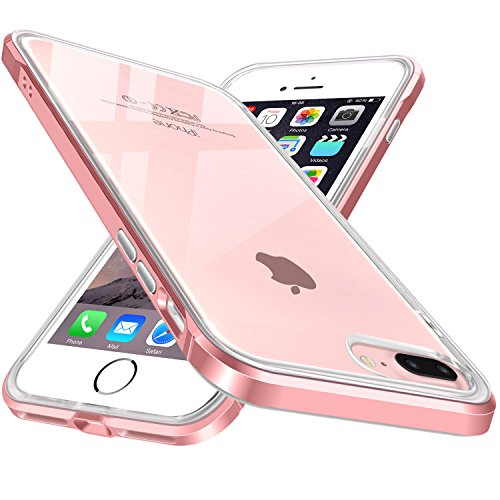 iPhone 7 Plus Case Clear TPU Bumper for iPhone 8 Plus Cases Rose Gold for Women