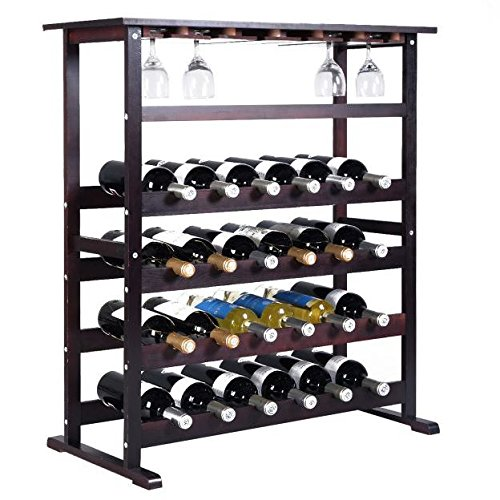 24 Bottle Wine Rack Storage Wood Holder Bottle Display Wooden Cabinet Shelf Home Kitchen Décor Bar Shelves w/ Glass Hanger Solid Liquor Stackable Tier Standing Organizer New by Royal Kitchen Supplies