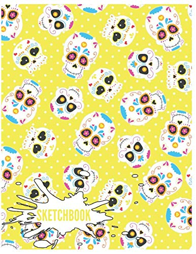 Sketchbook: Cute Skull Sketchbook for Adults/Children to Sketching, Whiting, Drawing, Journaling and Doodling, Large (8.5x11 Inch. 21.59x27.94 cm.) 120 Blank Pages (YELLOW&WHITE&BLUE&PINK Pattern) ()