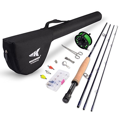KastKing Emergence Fly Fishing Combo,4 Wt,8ft 6in, Half Handle,Rod (8+1),3 or 4 Reel