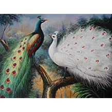 16X20 inch Animal Canvas Print RePro White&Color Peacock Lovers