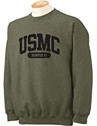 USMC Semper Fi Crewneck Sweatshirt in Military Green