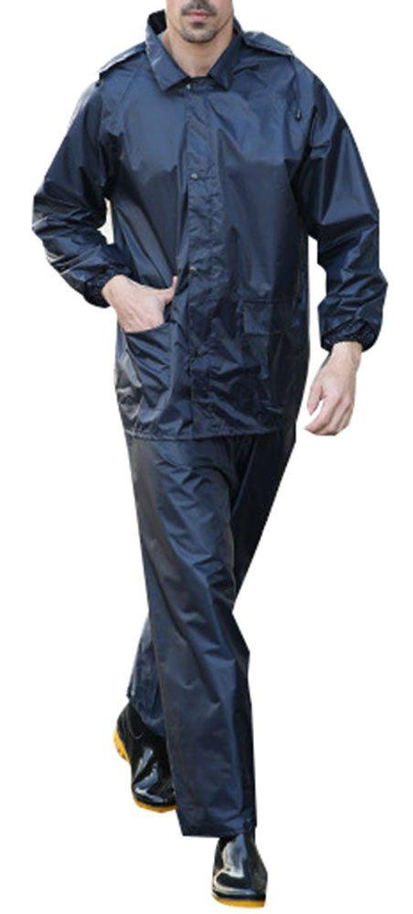 QZUnique Men's Lightweight Outdoor Ripstop Waterproof Packable Rain Jacket Pants Zipper Raincoat Set with Hood Black US XL