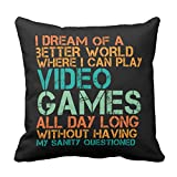Emvency Throw Pillow Cover Funny Quote for Video Games Geek and Gamer Decorative Pillow Case Home Decor Square 20 x 20 Inch Cushion Pillowcase
