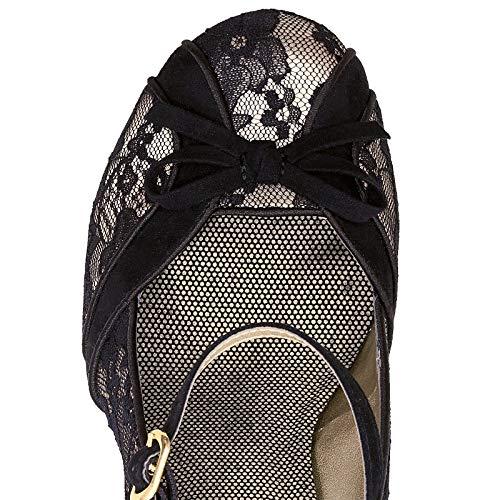 Heel Lace Ruby Shoes Shoo High Black Women's Mary Cleo Jane IxTOqASCw