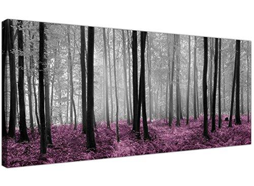 Wallfillers - Lienzo impreso con el diseno de un bosque en tonos negro y blanco