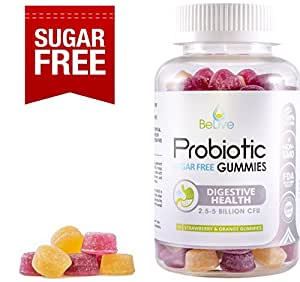 Probiotic Sugar-Free Gummies Supplement for Digestive Health & Immunity | Most Optimal with 5 Billion CFU Probiotics for Women, Men and Kids | 100% Natural & Vegan | GMO-Free. 90 Count