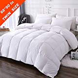DOWNCOOL 100% Cotton Quilted Down Comforter with Corner Tabs - White Goose Duck Down Feather Filling - Lightweight and Medium Warmth Box Stitched All-Season Duvet Insert - Twin