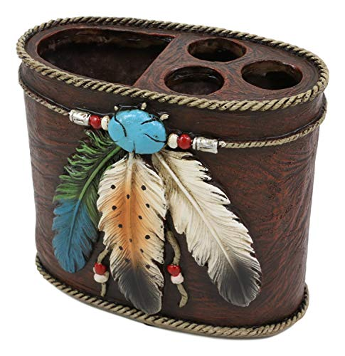Ebros Southwestern Tribal Native American Indian 3 Feathers Turquoise Stone and Beads Dream Catcher Design Bathroom Vanity Accent Figurine Decor Accessories (Toothbrush and Toothpaste Holder) (Western Vanity Lights)