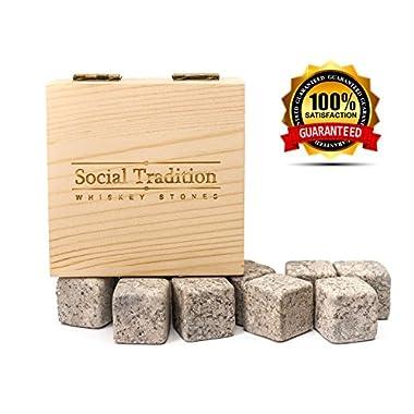 Elegant Whiskey Stone Set in Pine Wood Gift Case -Natural Soapstone- Lifetime guarantee (9 Piece set)
