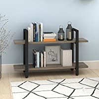 2-Tier Bookcase and Shelves in Rustic Industrial Style, Free Standing Storage Shelf Units (2-Tier)