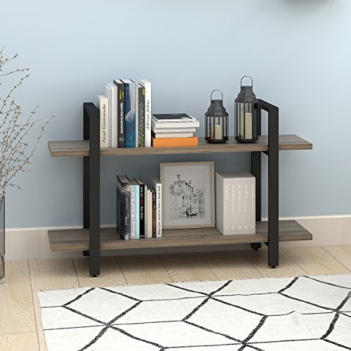 WLIVE 2-Tier Bookcase and Shelves in Rustic Industrial Style, Free Standing Storage Shelf Units (2-Tier)