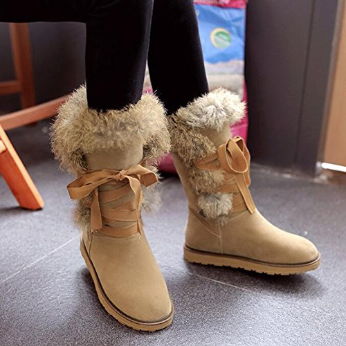 Apricot Warm Calf Mid Round Toe Women's Fur Lace Faux Shoes Snow Boots Suede Flats up Summerwhisper Fleece Lined Trendy AHRxnUxf4