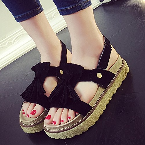 RUGAI-UE Sandalias de verano plana gruesa zapatos cómodos slip Black