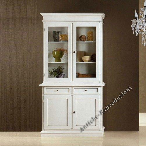 Möbel Buffet, Buffetschrank, Küchenbuffet, cm 111x44, h 206 - Holz, Klassisch, Italienischer Produktion