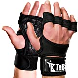 TeBoSport Crossfit Training Gloves with Wrist Support, Fingerless, Strong gripping. Best for CrossFitness, WOD, Weight & Power Lifting, Gym & Park Workout, Pull-up, Bodybuilding, Rowing, Gymnastics - Paddling Leather Palm Protection to Avoid Calluses