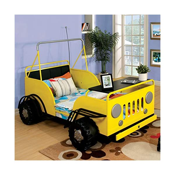 Furniture of America Jungler Metal Off-Road Vehicle Yellow Twin Bed