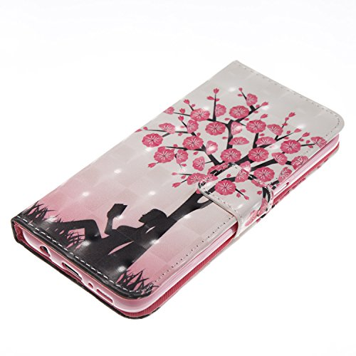 EUWLY Case for Samsung Galaxy S8,Samsung Galaxy S8 Leather Wallet Case,3D Stereoscopic Painting Ultra-Thin Slim PU Leather Protective Sleeve Stand Feature with Lanyard Book Style Magnetic Closure Anti Plum Tree