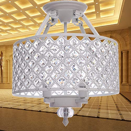 Semi Flush Mount Ceiling Crystal Chandeliers, 4-Light, Diameter 14 Inches x High 14 Inches, Home Lighting Fixture for Bedroom, Dining Room, Foyer, LED Bulbs Included for Free Snow-White Finish