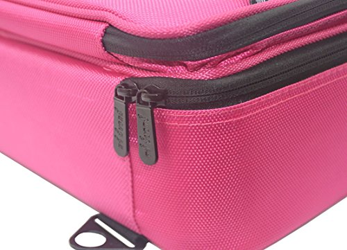 FLYMEI Professional Makeup Case 3 Layer Cosmetic Organizer 16'' Make Up Artist Storage with Shoulder Strap and Adjustable Divider, Pink by FLYMEI (Image #7)