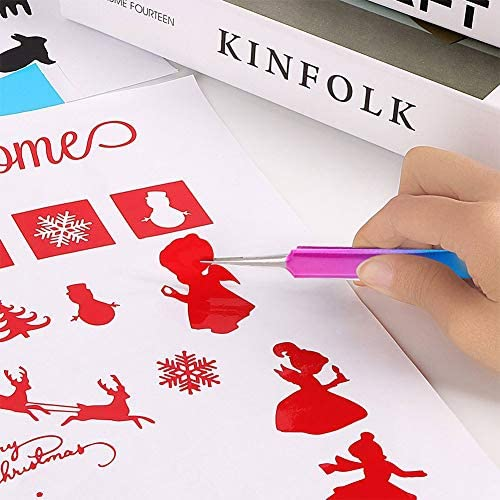 BENECREAT 8個セット紙彫り工具 彫りツール スクレーパー 夢幻グラデーション色 収納バッグ 紙切りデザイン 紙クラフト ミックスカラー