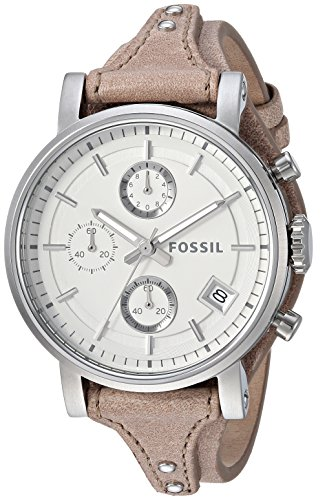 Fossil Women's ES3625 Original Boyfriend Chronograph Stainless Steel Watch with Beige Leather Band