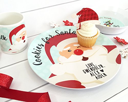Personalized Melamine Cookies for Santa Plate Reindeer Food Bowl
