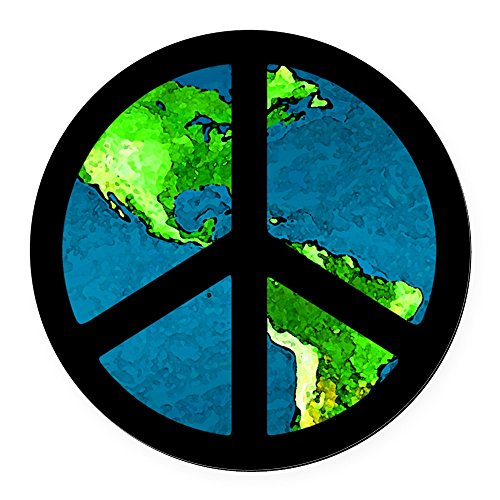 - CafePress - Peace Sign Car Magnet/Peace on Earth - Round Car Magnet, Magnetic Bumper Sticker