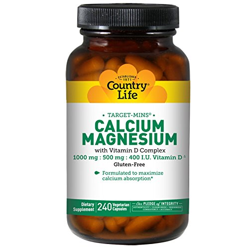 País vida, calcio magnesio, w/Vitamin D complejo, 240 gorras de Veggie