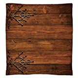 Super Soft Throw Blanket Custom Design Cozy Fleece Blanket,Rustic,Antique Backdrop with Carved Dated Gothic Style Ornaments Retro Fashioned Picture Decorative,Dark Rosewood,Perfect for Couch Sofa or B