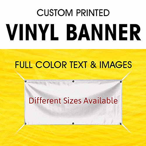 Custom Vinyl Business Banner Full Color Banner Company Vinyl Banner Indoor Outdoor with True Solvent Ink Signs and Grommets By Bannerbuzz (4'x3') (Outdoor Banner Sign)