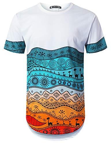 Aztec Print Shirt - URBANTOPS Mens Hipster Hip Hop Colorful Aztec Print Longline T-Shirt White, XL