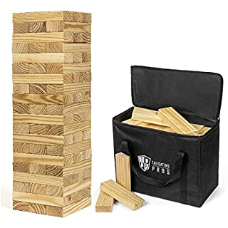 Tailgating Pros Giant Wooden Tumbling Timbers - 60 Blocks - Stacking Game - W/ Carrying Case