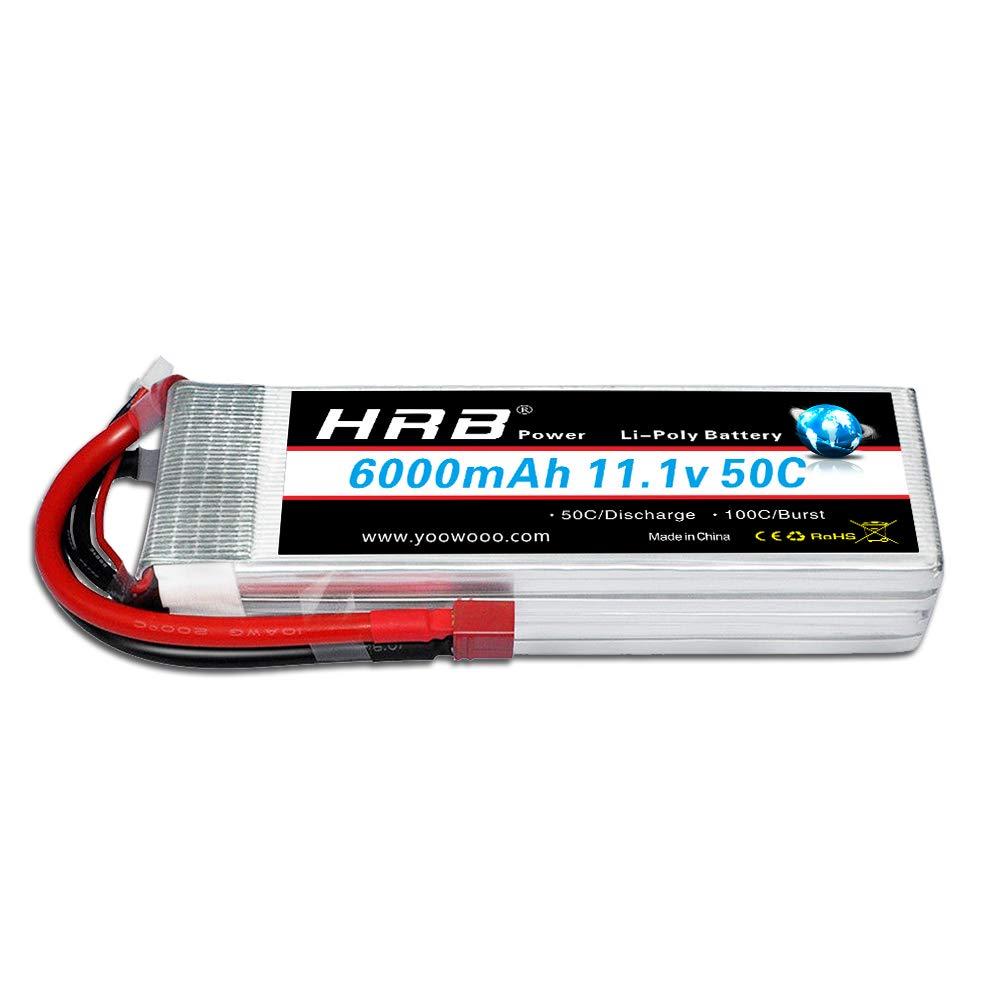 Bateria Lipo HRB 6000mAh 11.1V 3S Pack 50C Max 100C Deans T