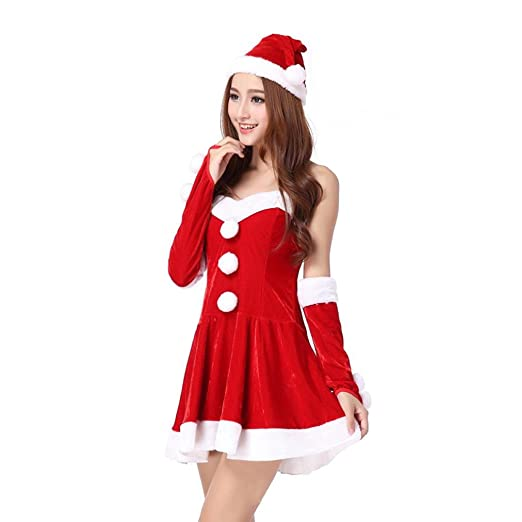 han shi red christmas dress women santa costume mini skirt fancy two parts cosplay suit
