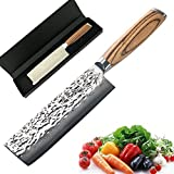 Chef Knife 6.5 inch Nakiri Knife Quality Damascus Steel Kitchen Knives, Razor Sharp Slicing Comfortable Handle Vegetable Cleaver with Gift Box by Xing YI?The Patterns of Natural Wood are Unique?
