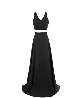 AiniDress Womens Chiffon Maxi Skirt Two Pieces Sweet Prom Dresses Homecoming Party Dresses 2017 Black Size
