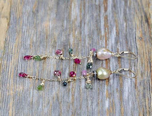 Tourmaline Pearl Gemstone Cascade Earrings- Baroque Pearls- Mixed Metal- Multi color- 3+