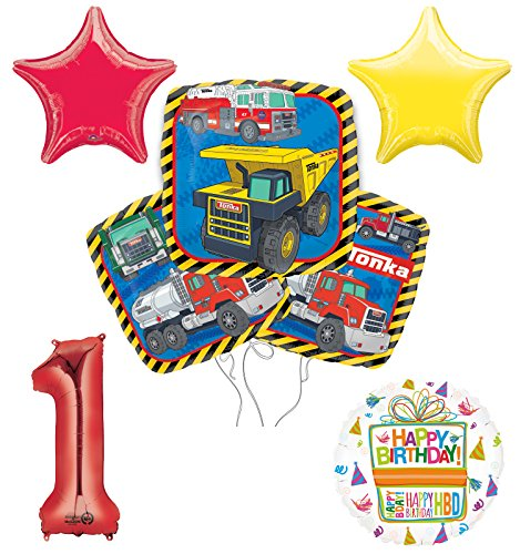 Tonka Truck 1st Birthday Party Supplies and Balloon Decoration Bouquet Kit -