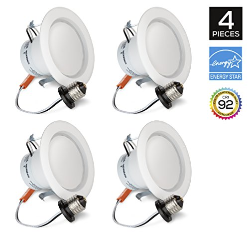 Hyperikon 4 Inch LED Downlight, Dimmable, 9W (65W Equivalent), Retrofit LED Recessed Fixture, 3000K (Soft White Glow), CRI92, ENERGY STAR Ceiling Light - Great for Bathroom, Kitchen, Office (4 Pack)