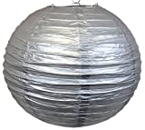 Perfectmaze 12 Piece 10'' (Inch) Round Chinese Paper Lantern for Wedding Party Engagement Decoration_Silver
